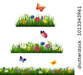 grass border with flower... | Shutterstock .eps vector #1013343961