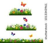 grass border with flower... | Shutterstock .eps vector #1013343961