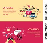 digital vector flying drone... | Shutterstock .eps vector #1013351851