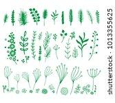 set of green vector decorative... | Shutterstock .eps vector #1013355625