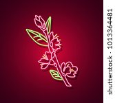 rose neon sign. neon sign ... | Shutterstock .eps vector #1013364481