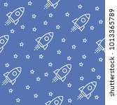 space. seamless pattern. blue.... | Shutterstock .eps vector #1013365789
