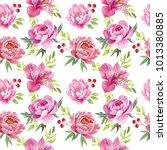watercolor floral set  peonies... | Shutterstock . vector #1013380885
