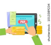 mobile payment concept. paying... | Shutterstock .eps vector #1013389234