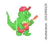 pixel art dinosaur character.... | Shutterstock .eps vector #1013390125
