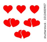 set of vector hearts and two...   Shutterstock .eps vector #1013400907