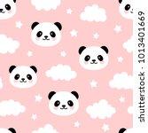 cute panda seamless pattern ... | Shutterstock .eps vector #1013401669