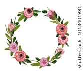decorative holiday wreath with... | Shutterstock .eps vector #1013401981