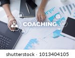 Small photo of Coaching and mentoring on virtual screen. Personal development concept.
