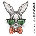 Stock vector rabbit in glasses vintage hand drawn cute bunny face doodle sketch portrait with glasses and bow 1013404789