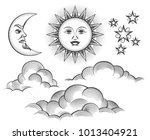 sun  moon and clouds engraving. ... | Shutterstock .eps vector #1013404921