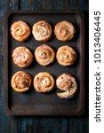 homemade glazed puff pastry...   Shutterstock . vector #1013406445