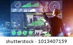 back view of businesswoman...   Shutterstock . vector #1013407159