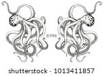the couple octopus hand drawing. | Shutterstock .eps vector #1013411857