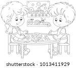 little children drawing funny... | Shutterstock .eps vector #1013411929