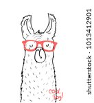 hand drawing lama illustration... | Shutterstock .eps vector #1013412901
