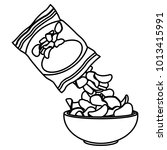 potato chips bag and bowl | Shutterstock .eps vector #1013415991