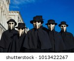 Plague Doctor Masks group, traditional costume invented in the 17th century and historical character of Venice Carnival