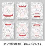 set of thin line sea mammals... | Shutterstock .eps vector #1013424751