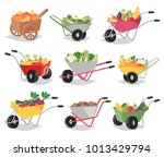 vegetables in wheelbarrow... | Shutterstock .eps vector #1013429794