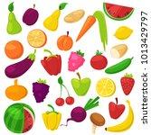fruits vegetables vector... | Shutterstock .eps vector #1013429797