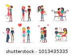 Stock vector concept of couples in love on white background vector illustration adult man and woman holds hands 1013435335