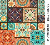 seamless colorful patchwork... | Shutterstock .eps vector #1013438719