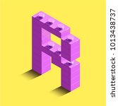 realistic pink 3d isometric... | Shutterstock .eps vector #1013438737