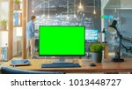 personal computer with mock up... | Shutterstock . vector #1013448727