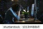 tired  overworked female mobile ... | Shutterstock . vector #1013448865