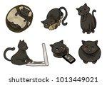 a set of cute gray cats.... | Shutterstock . vector #1013449021