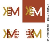 km letters logo with accent... | Shutterstock .eps vector #1013450524