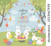 easter bunnies and easter egg | Shutterstock .eps vector #1013467939