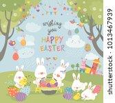 easter bunnies and easter egg | Shutterstock .eps vector #1013467939