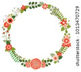 vector round flower wreath with ... | Shutterstock .eps vector #1013470729