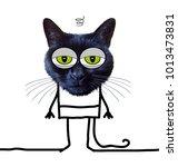 cartoon tired funny cat    Shutterstock . vector #1013473831