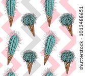 seamless pattern. cacti in a... | Shutterstock .eps vector #1013488651