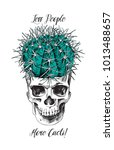 humor card. round cactus in... | Shutterstock .eps vector #1013488657