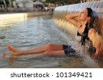 Young Woman Enjoying Cold Water ...
