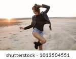 fashion model in sunglasses ... | Shutterstock . vector #1013504551