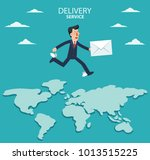 young businessman running over... | Shutterstock .eps vector #1013515225