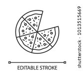 pizza linear icon. thin line... | Shutterstock .eps vector #1013515669