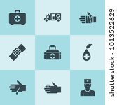 set of 9 aid filled icons such... | Shutterstock .eps vector #1013522629