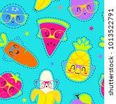 vector cartoon fruits in... | Shutterstock .eps vector #1013522791