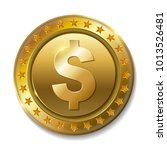 realistic 3d gold dollar coin... | Shutterstock .eps vector #1013526481