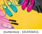 fitness accessories  healthy...   Shutterstock . vector #1013536411