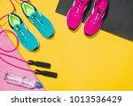 fitness accessories  healthy...   Shutterstock . vector #1013536429