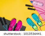 fitness accessories  healthy... | Shutterstock . vector #1013536441