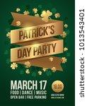 poster to celebrate st. patrick'... | Shutterstock .eps vector #1013543401