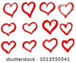 hand drawn hearts set. love... | Shutterstock .eps vector #1013550541